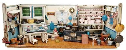 Puppenstuben-Küche, ca. 1910, B: 120 cm, H: 48 cm,