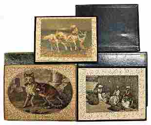 3 pieces puzzle before 1900 cat except of a small