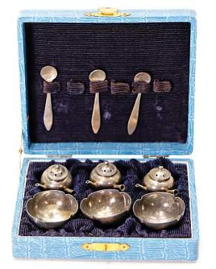 small Japanese dollhouse tea set silver in original