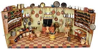 kitchen with chimney hood, around 1820, around, width: