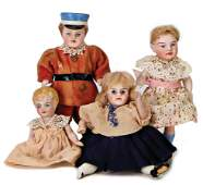 3 pieces, dollhouse dolls, all-bisque, girls, 9 cm, fix