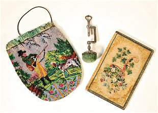Biedermeier embroidery handiwork pocketbook andnbsp