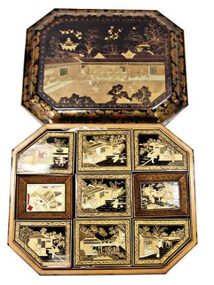 asiatic game wood box with many inserts painted with