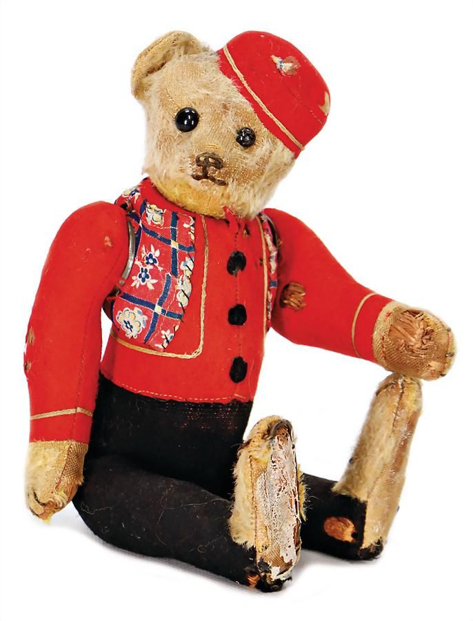 SCHUCO Yes/No bellhop -bear, 29 cm, patches with flaws,