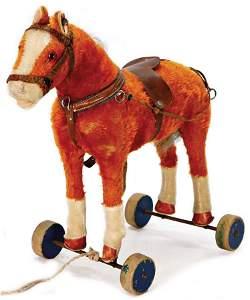 STEIFF horses, on wheels, with button, pre-war era,