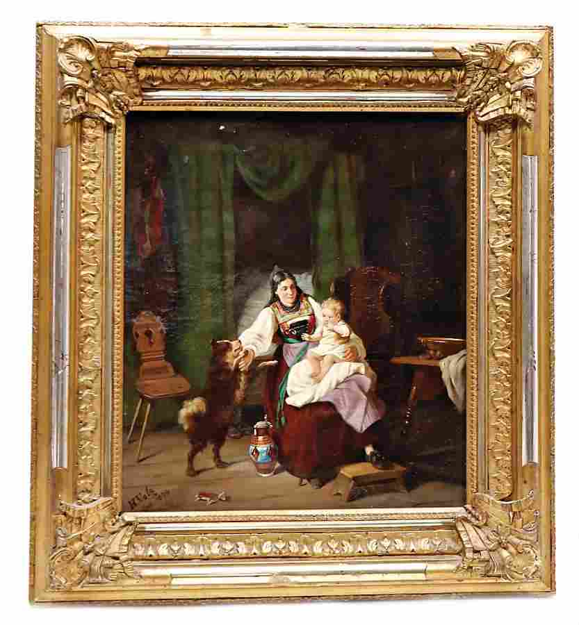 oil on canvas, H. Volz, 1874, mother with child,