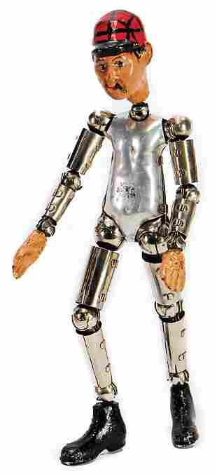 SABA Figur, Schweiz, gegliederter Metallkörper,