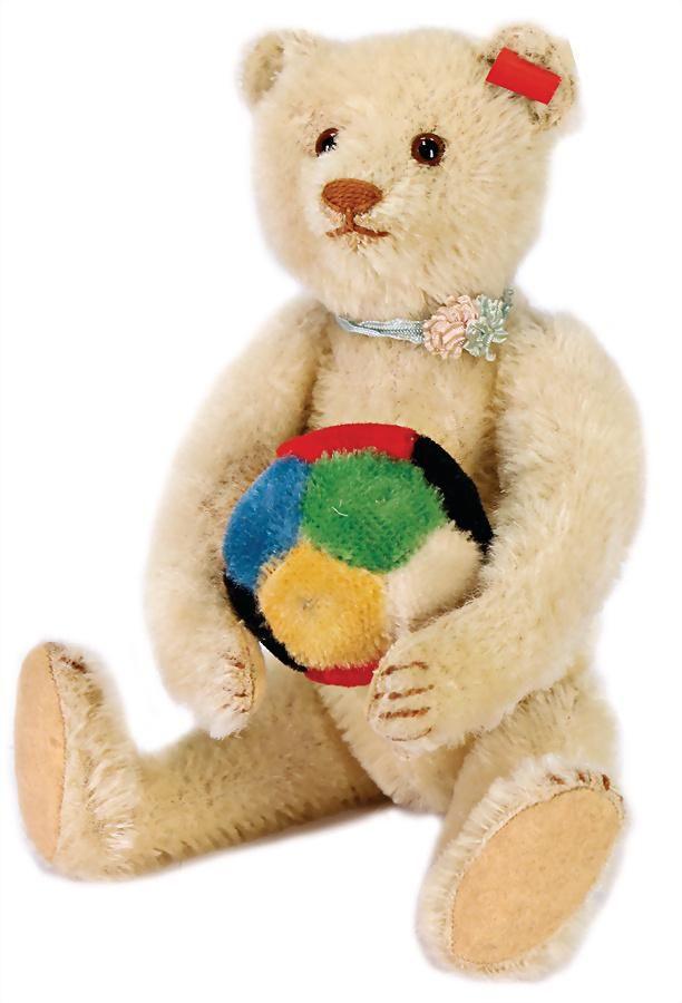 STEIFF teddy, 25 cm, white, press voiceat the side is