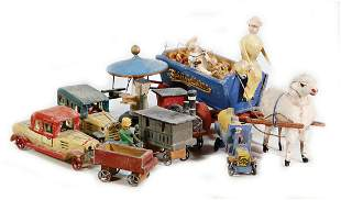 ERZGEBIRGE mixed lot of miniatures, vehicles, 3 pieces