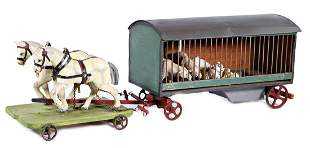menagerie carriage, wood, 47 cm, with polar bears,