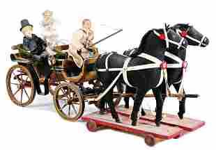 coach, wood, 2 draught horses, dolls more recent, 59