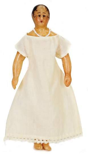 early dollhouse doll, wax shoulder headed doll, 10.5