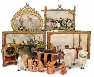 bookshelf, tin, 4 dollhouse pictures with tin frame, 3