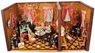 2-part dollhouse room, Biedermeier, width: 65 cm,
