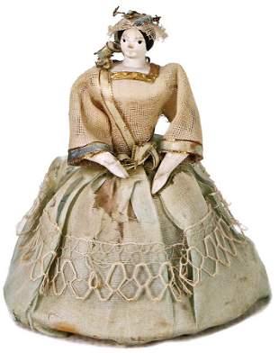 GRöDNERTAL running doll made of wood, 7 cm, bride,