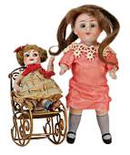 all-bisque doll, marked 208, 14.5 cm, fix inset blue