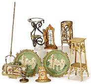 2 ornamental plates, tin, diameter: 6.5 cm, 1 dust mop,