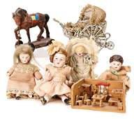 scene with playing children, small all-bisque doll in a