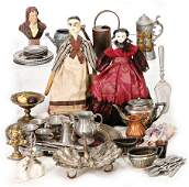 mixed lot of dollhouse decoration pieces, tin and