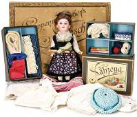doll-mother sewing school, in original box, with sewing