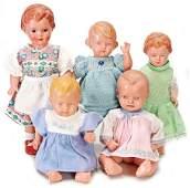 SCHILDKRÖT Konv. 5 Puppen, darunter 1x Mädchen, gem.