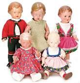 SCHILDKRÖT Konv. 5 Puppen, darunter Ursel mit