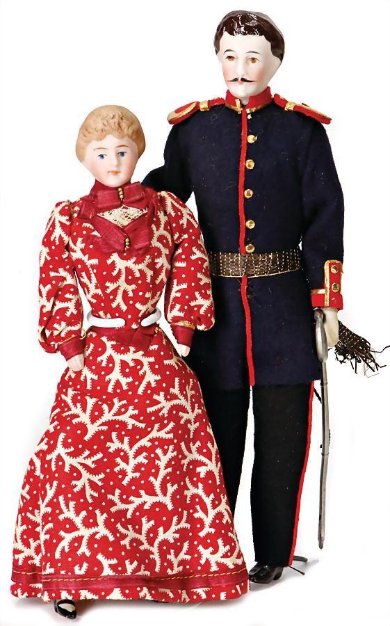 2 pieces, dollhouse doll, 1x officer, bisque porcelain