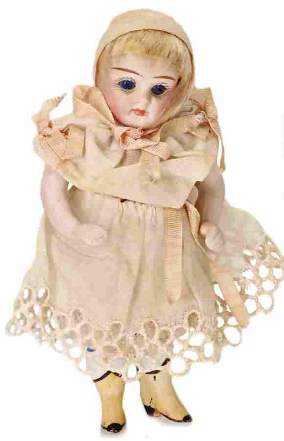 all-bisque dollhouse doll, 11.5 cm, socket head, blue