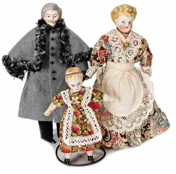 3 pieces, dollhouse dolls, man, 13.5 cm, bisque