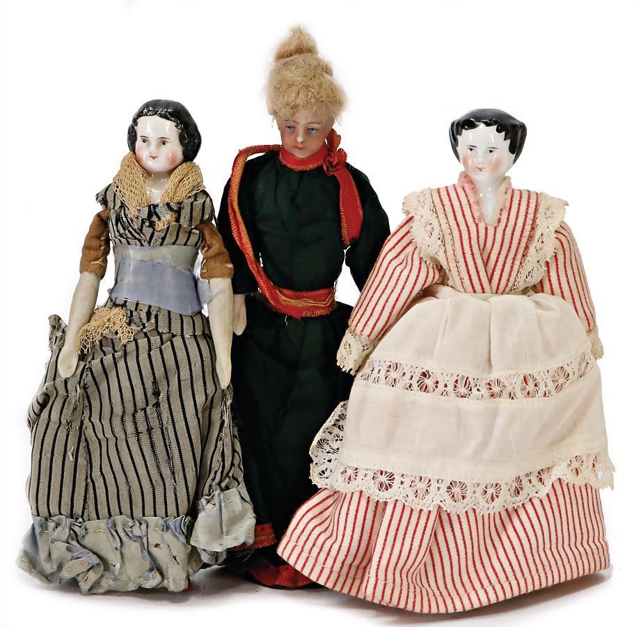 3 pieces, dollhouse dolls, lady, bisque porcelain,