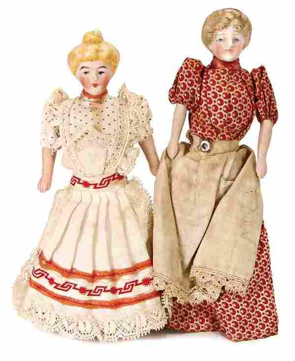 2 pieces, dollhouse dolls, housekeeper, bisque heads,