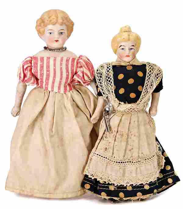 2 pieces, dollhouse dolls, housekeeper, 15 cm, bisque