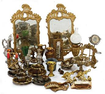 nice mixed lot of tin parts, 2 stately mirror, 11.5