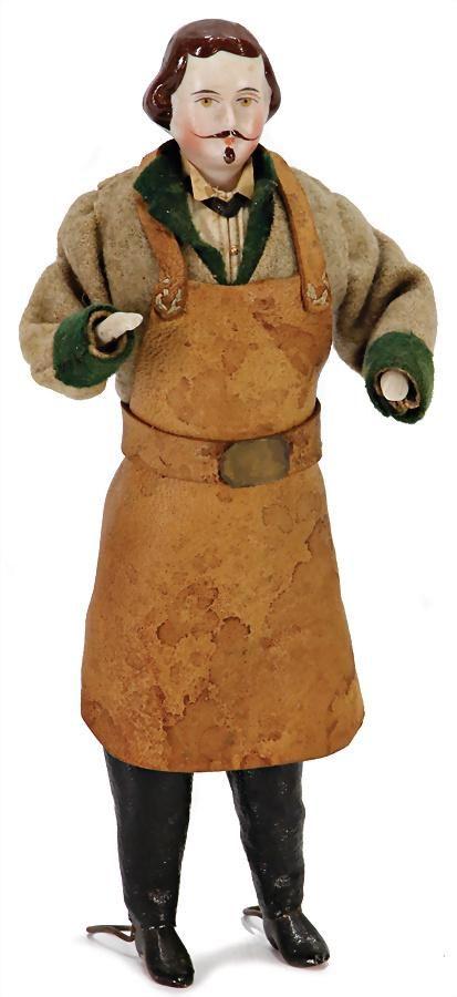 dollhouse-man, shoemaker, 16 cm, bisque shoulder headed