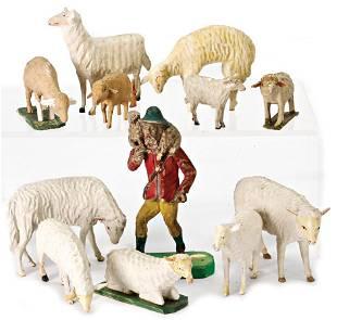crib figurine, shepherd, 15 cm, with lamb, carved wood