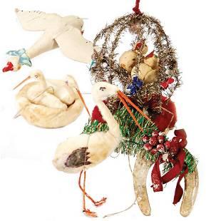 Christmas tree decoration, cotton wool, duck, stork,