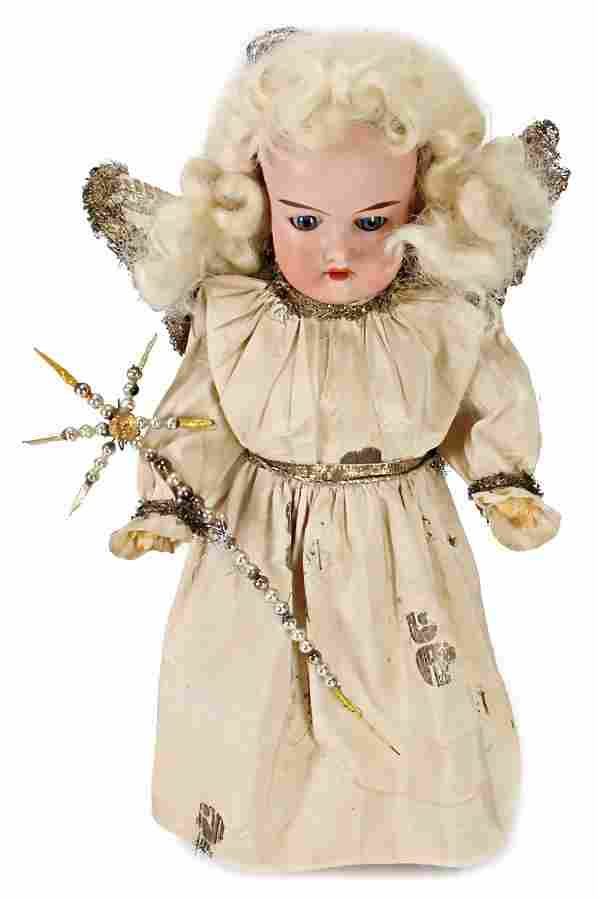 bisque porcelain head doll, AM390 as Christmas angel,