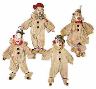 4 pieces, clown figures, cotton wool with crepe
