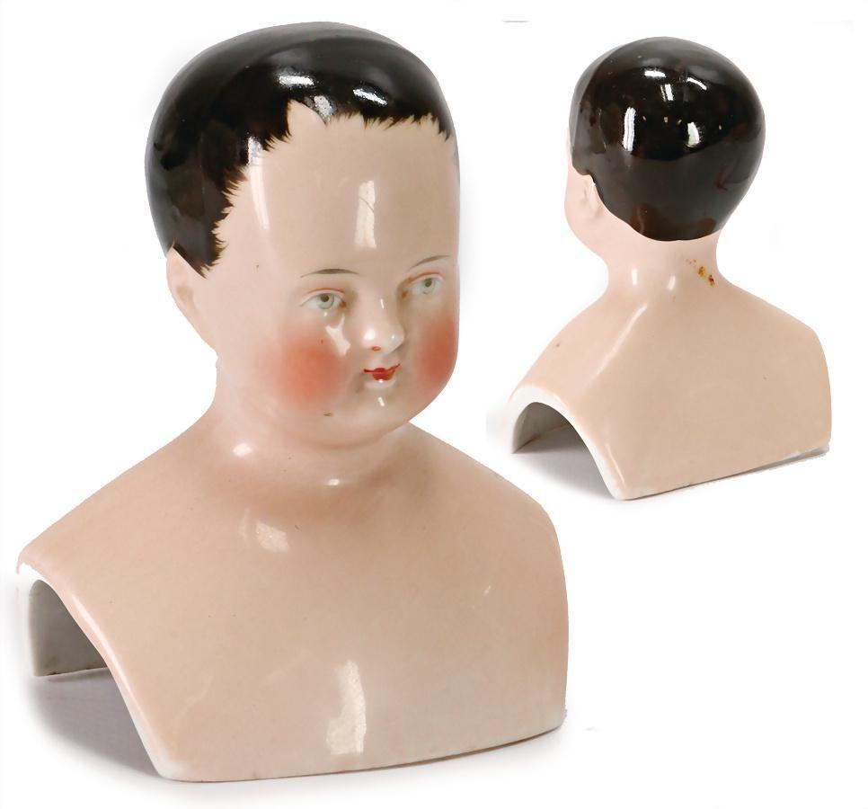 China-Head, boy, enameled porcelain, width: 7 cm