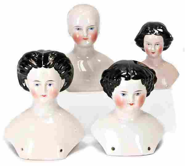 4 pieces, shoulder headed dolls, enameled porcelain,