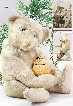 STEIFF, bear, 70 cm, white, light colored embroidering,