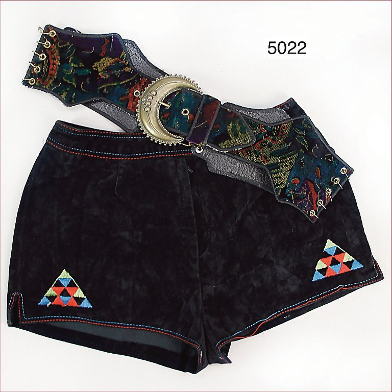 '60s hot pants, velvet, with multicolored emblem, broad