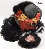 mixed lot, c. 1910, black hat (baptism), 3-part ostrich