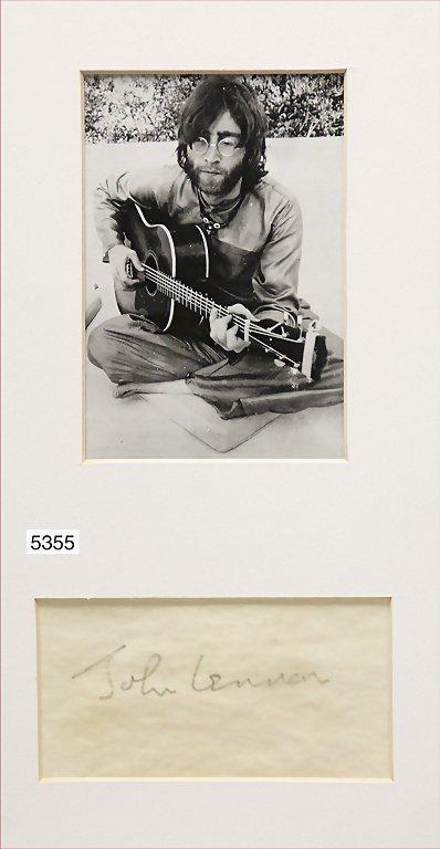 B/W photo and signature of John Winston Lennon, born on