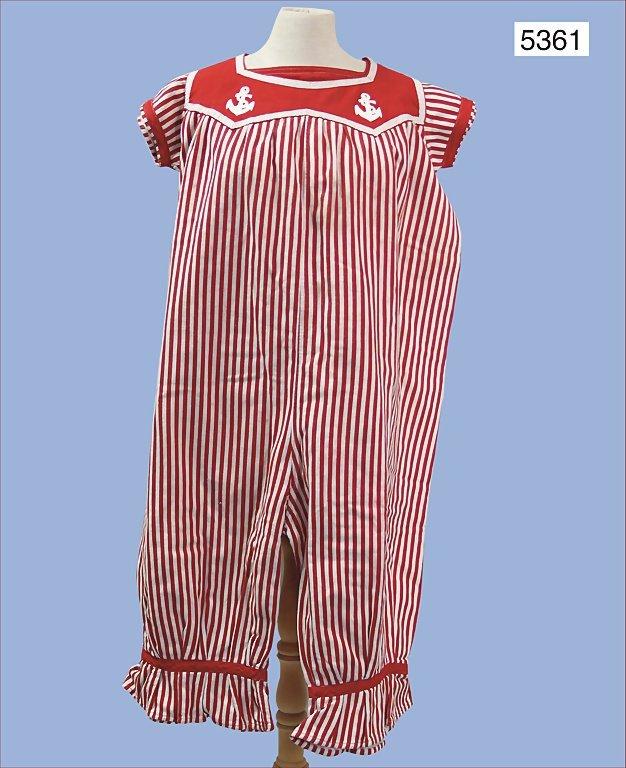 rare ladies' swimsuit, around 1900, cotton, striped,