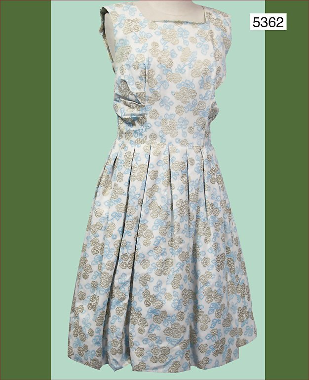 ladies' summer dress, late '50s, rayon, blue-green