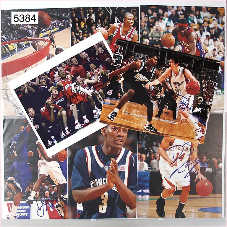 autographs, photographies and cards of basketballers,