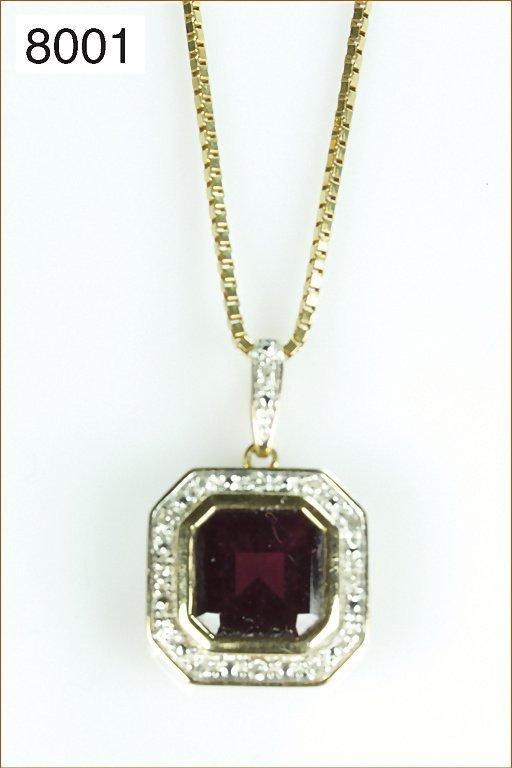 Anhänger 585/000 Gold mit Granat und Diamanten & 333/00
