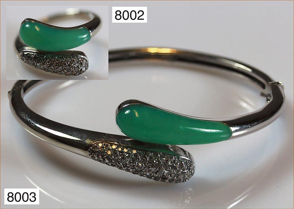 Armreif 585/000 Weißgold mit Chrysopras und Diamanten,