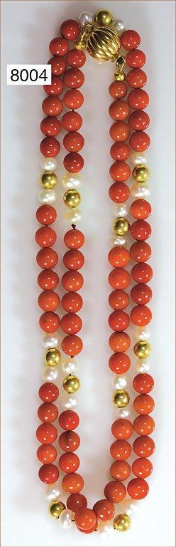 Korallenkette  (Metall goldfarben), Zuchtperlen